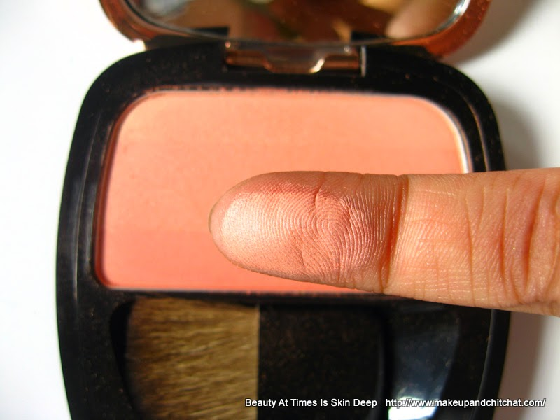 Swatch of L'Oreal Lucent Magique Blush in Sunset Glow| Loreal India Beauty At Times is Skin Deep