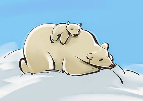 Cute illustration of baby polar bear and mother polar bear.
