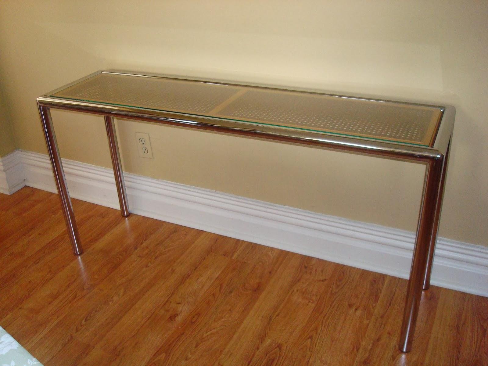 Era antiques 1970 s milo baughman tubular chrome sofa for 8 deep console table