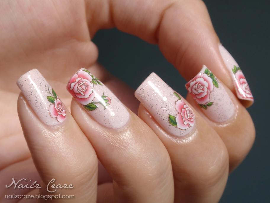 Delicate Roses Nail Art - Nailz Craze