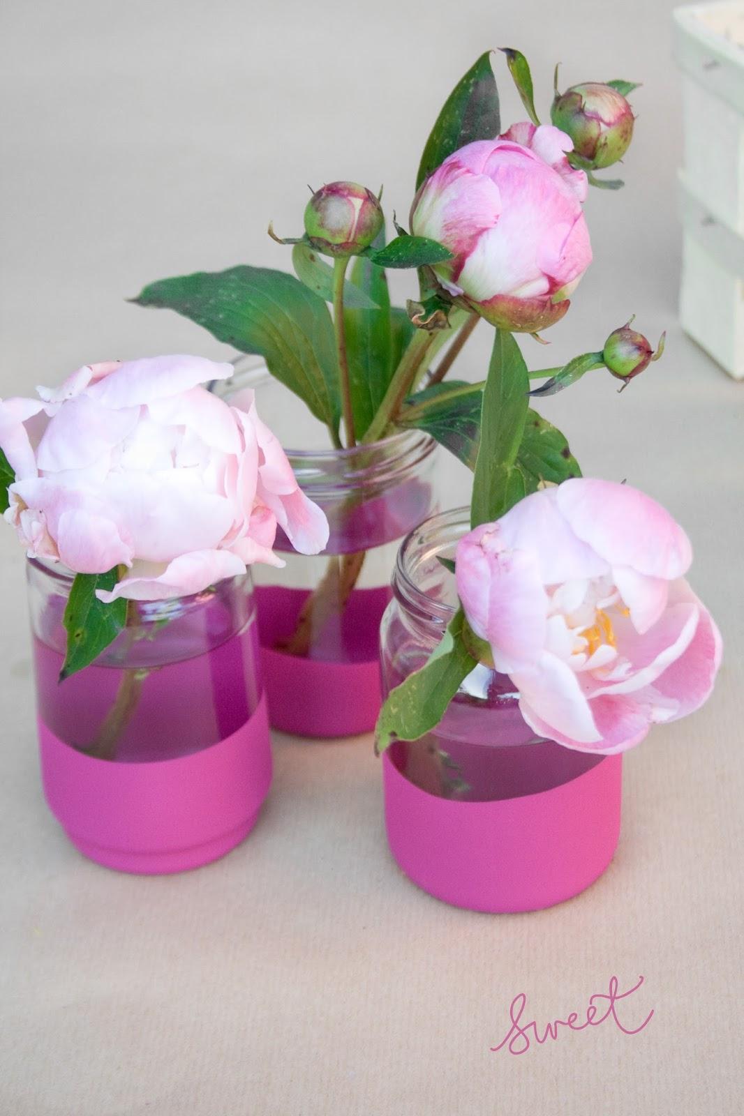 DIY Vase mit Pfingstrosen