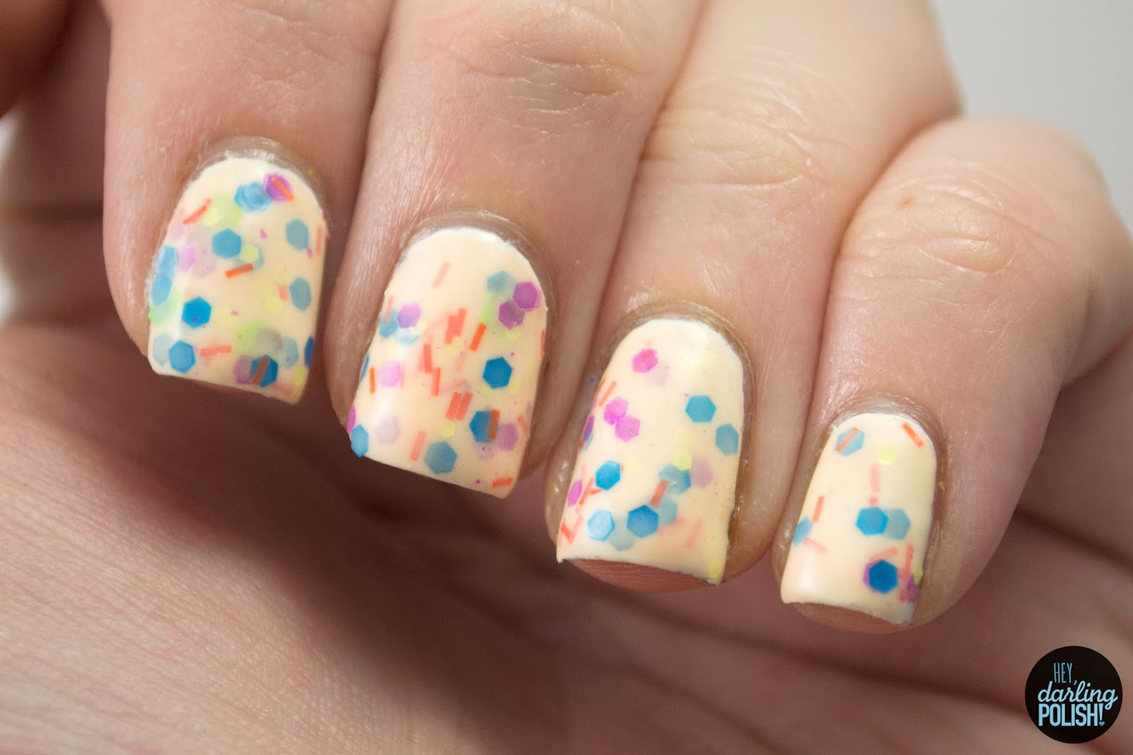 totally 80's, neon, white, nails, nail polish, indie, indie polish, sick lacquers, glitter, matter glitter, hey darling polish,