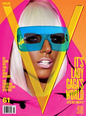 LADY GAGA V MAGAZINE COVER WEARING BLUE GLASSES