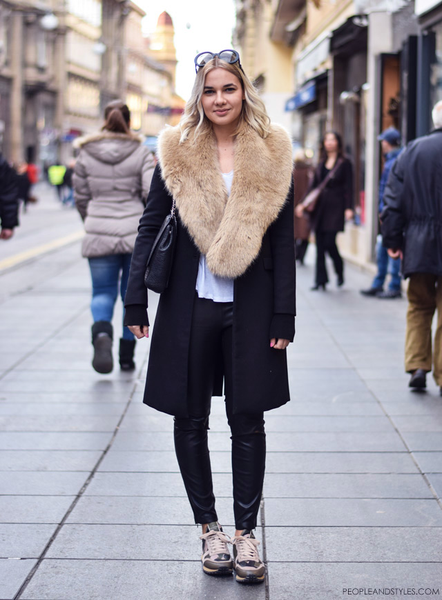 Karla Anić, how to wear sneakers, leather leggings and faux fur collar