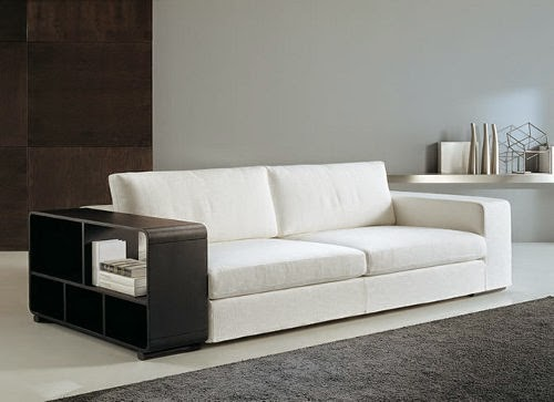 Italian modern white sofas design with shelves