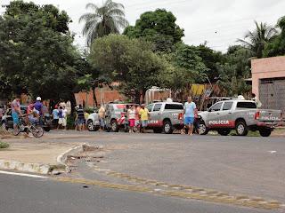 Contigente policial no local do acidente na Av. Leão Sampaio.