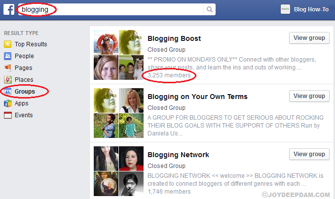 Search-for-relevant-and-popular-pages-groups-in-facebook-to-get-social-traffic-to-your-blog and pages to share your content