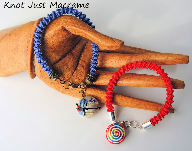 Knotted macrame bracelets with art bead focals