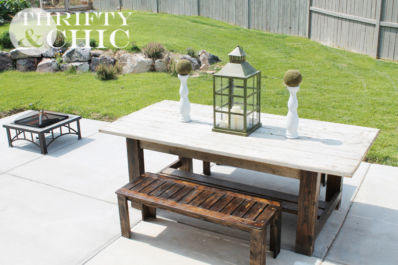 Thrifty and chic diy projects and home decor diy outdoor bench and farmhouse table watchthetrailerfo