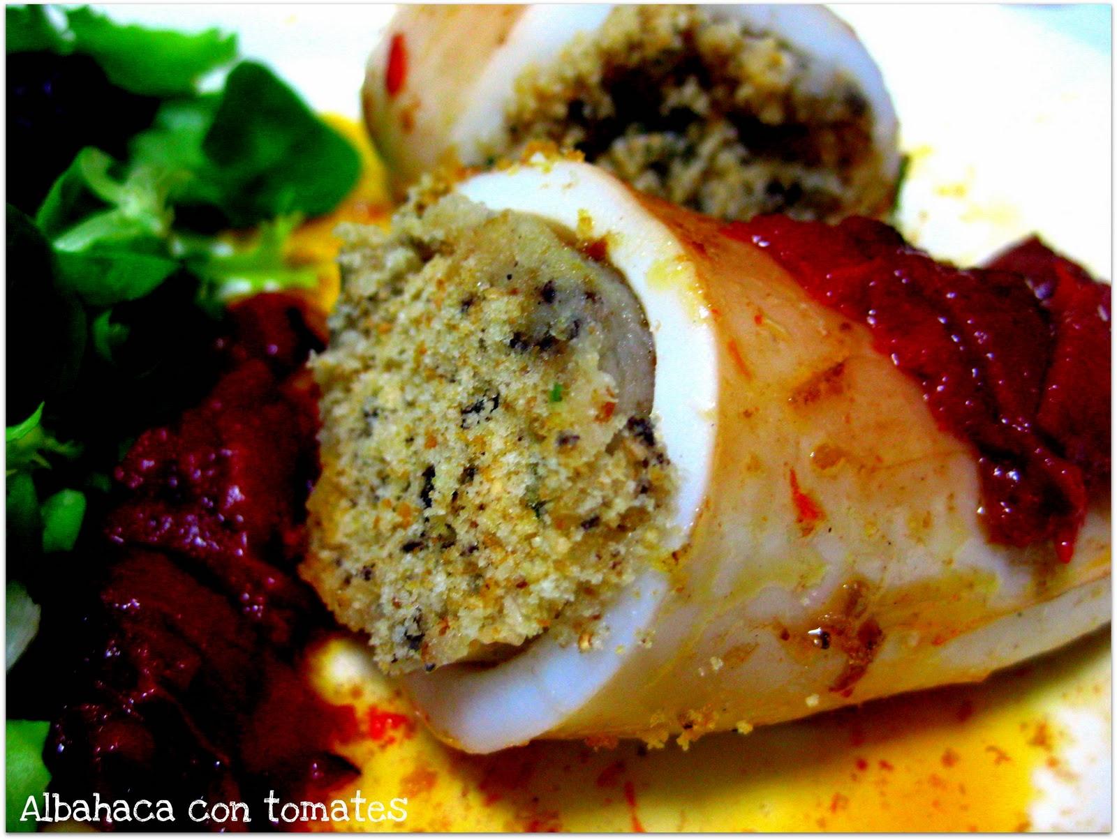 Albahaca con tomates calamares rellenos con salsa de - Salsa para calamares rellenos ...