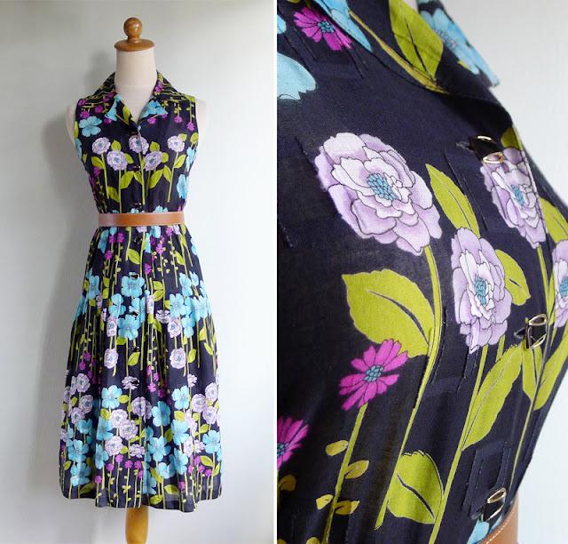 vintage 1970's black cotton sleeveless day dress