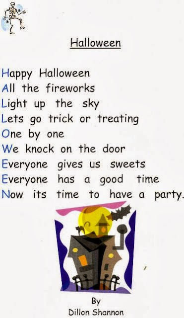 happy halloween by dillon shannon is a cute poem writing about interesting things you