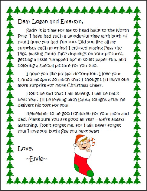 Printable Goodbye Letter From Elf On The Shelf Balancing Home Elf