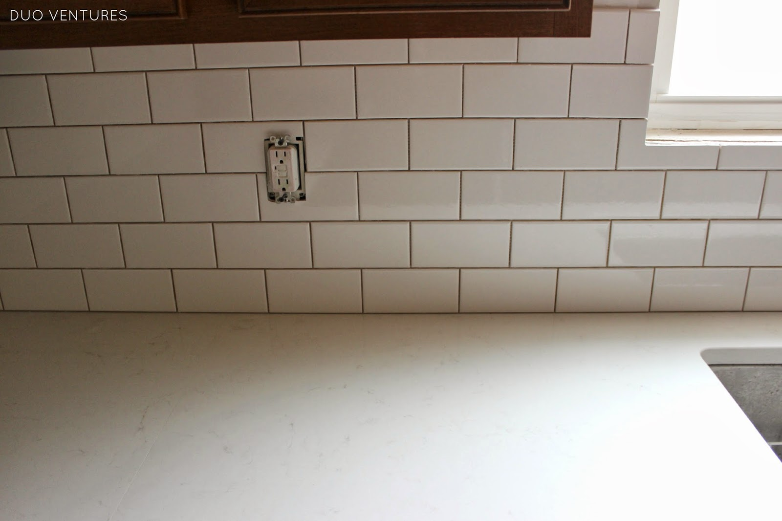 excellent dimensions of subway tile. After we let the adhesive  tile sit overnight removed all spacers were left with this Duo Ventures Kitchen Makeover Subway Tile Backsplash Installation