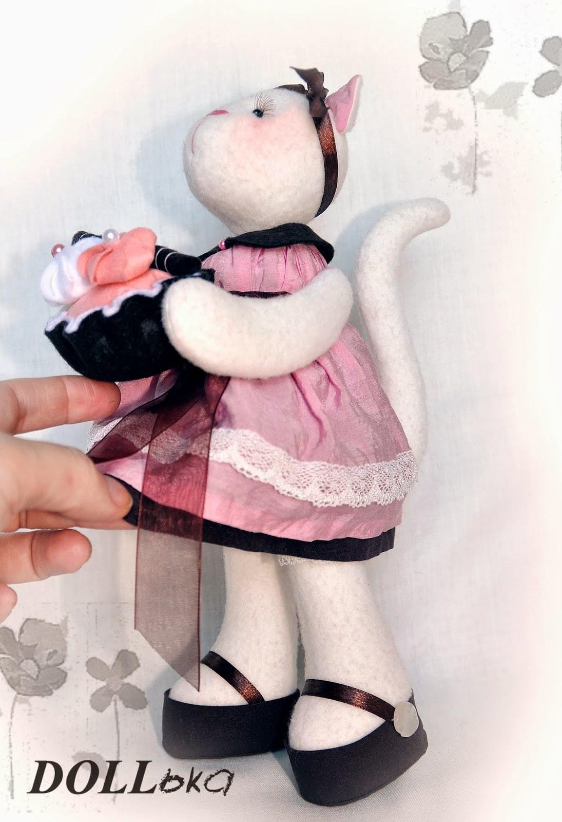 кошечка текстильная игрушка ручной работы