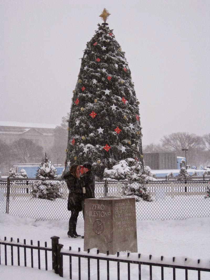 White House Christmas tree and zero milestone.