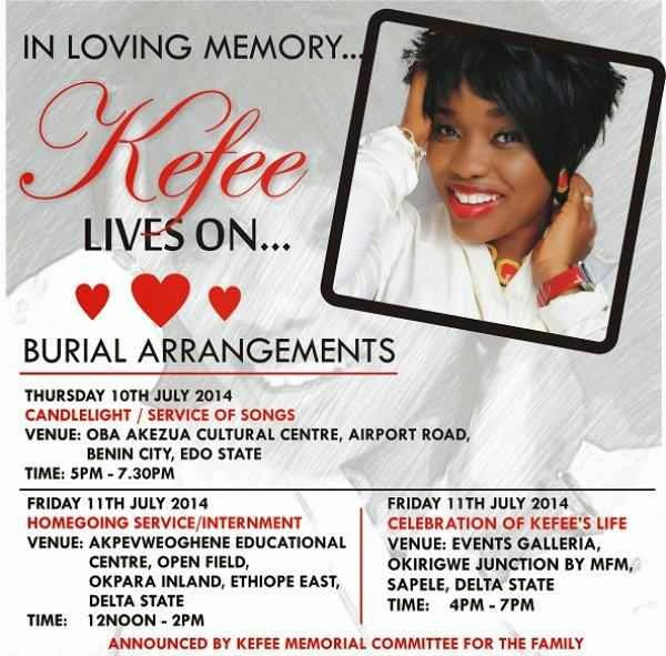 Arrangement For Kefee's Burial Has Been Announced