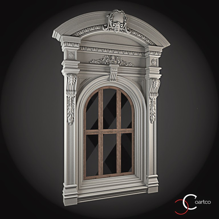 Ornamente Geamuri Exterior, Arcada fatade case cu profile decorative polistiren, profile fatada,  Model Cod: WIN-053