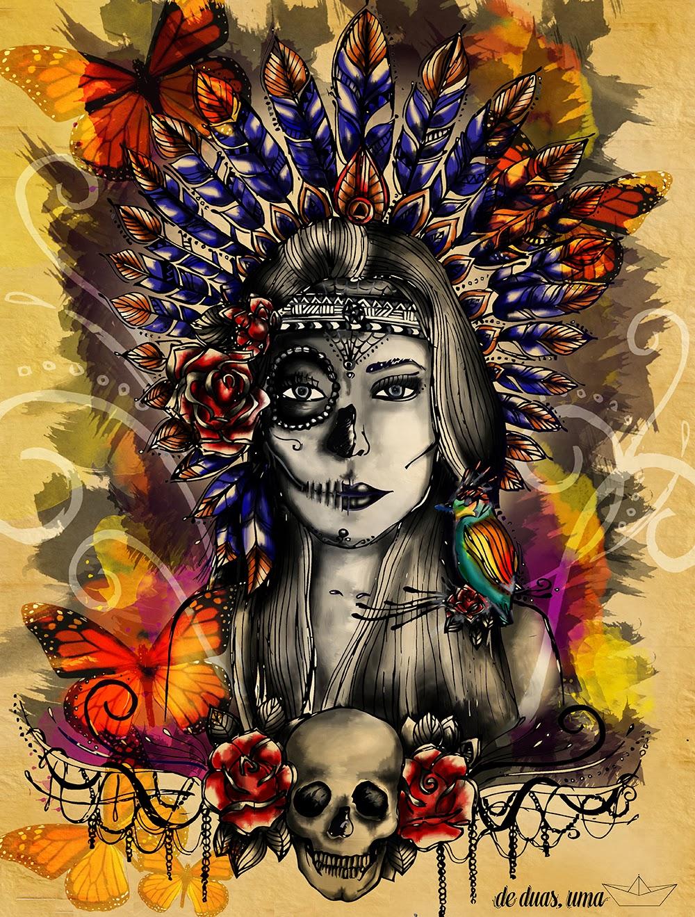urban art mexican indian  skull