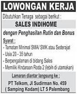 Lowongan Kerja PT. Telkom di Palembang