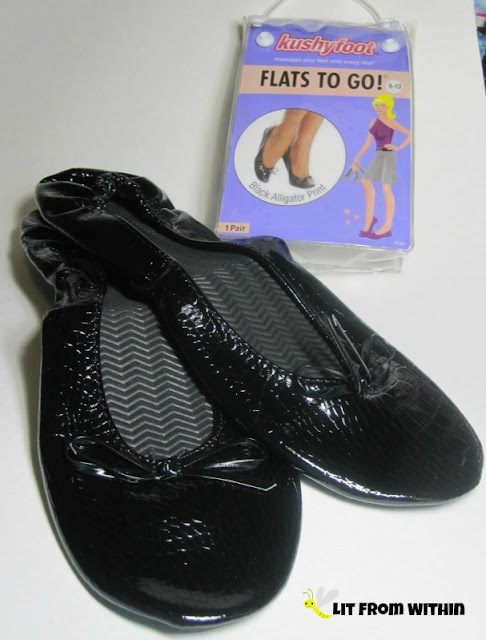 Kushyfoot Flats To Go! in black alligator print