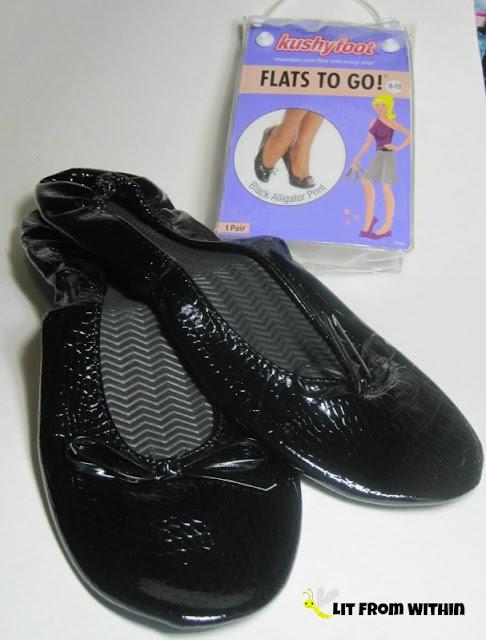 Kushyfoot Flats To Go! in black alligator print
