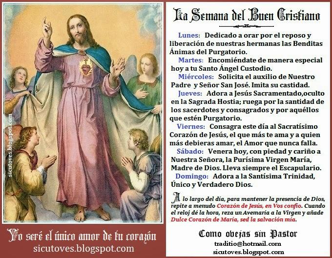 ESTAMPA para imprimir LA SEMANA DEL BUEN CRISTIANO, el tradicional esquema de piedad católica