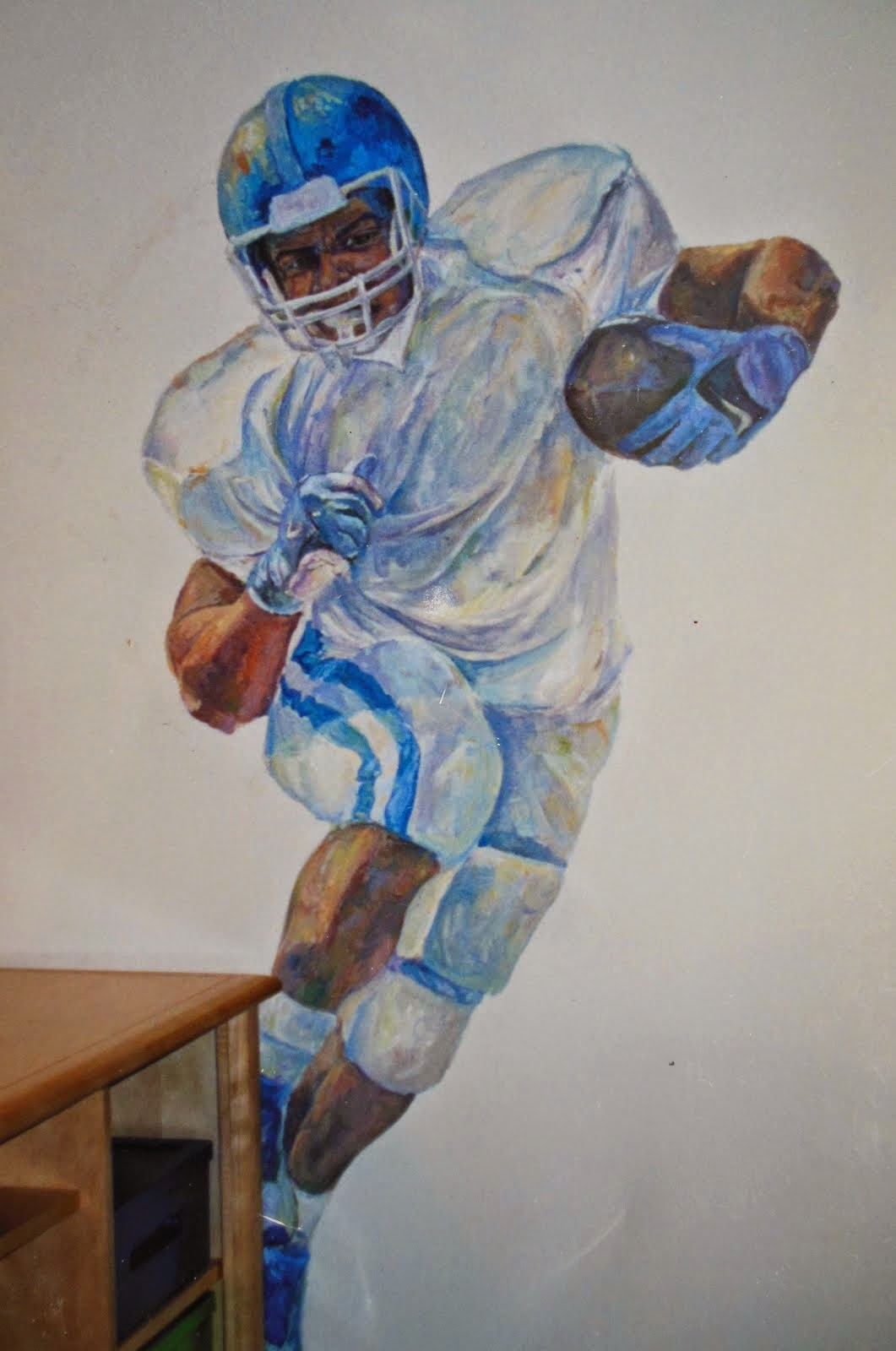 football player mural