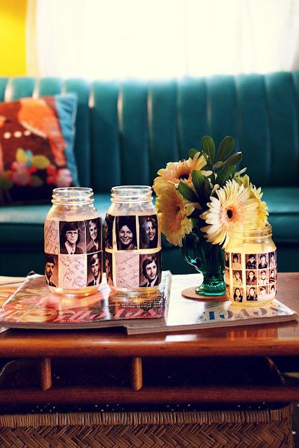 Frascos reciclados decorados estilo vintage