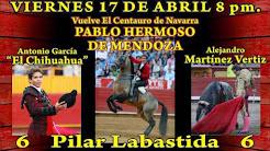 Hermoso de Mendoza, El Chihuahua y Vertiz, anunciados en Chihuahua, el 17/04.