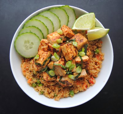 Basil Tofu Bowl With Stir-Fried Quinoa image