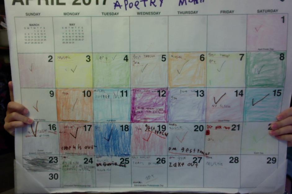April 2017 Rainbow Calendar