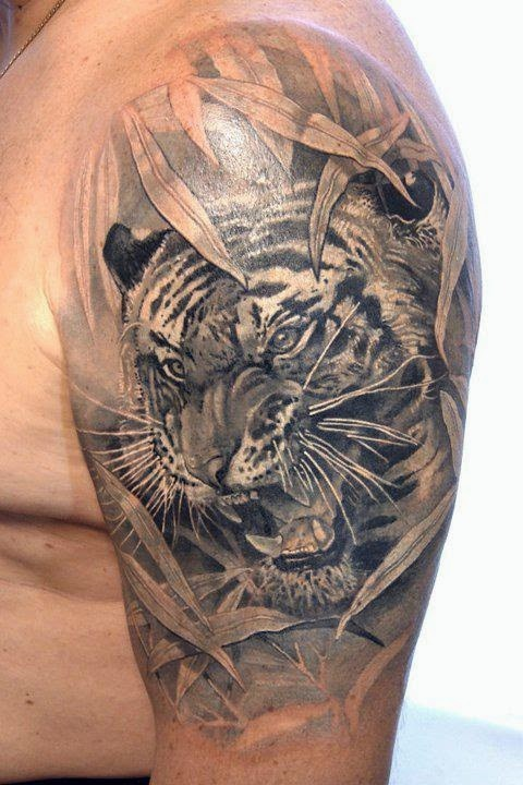 ♥ ♫ ♥ Awesome Tiger Tattoo On Sleeve ♥ ♫ ♥