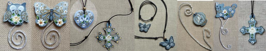 . . . des marques-pages, des pendentifs, des bracelets . . .
