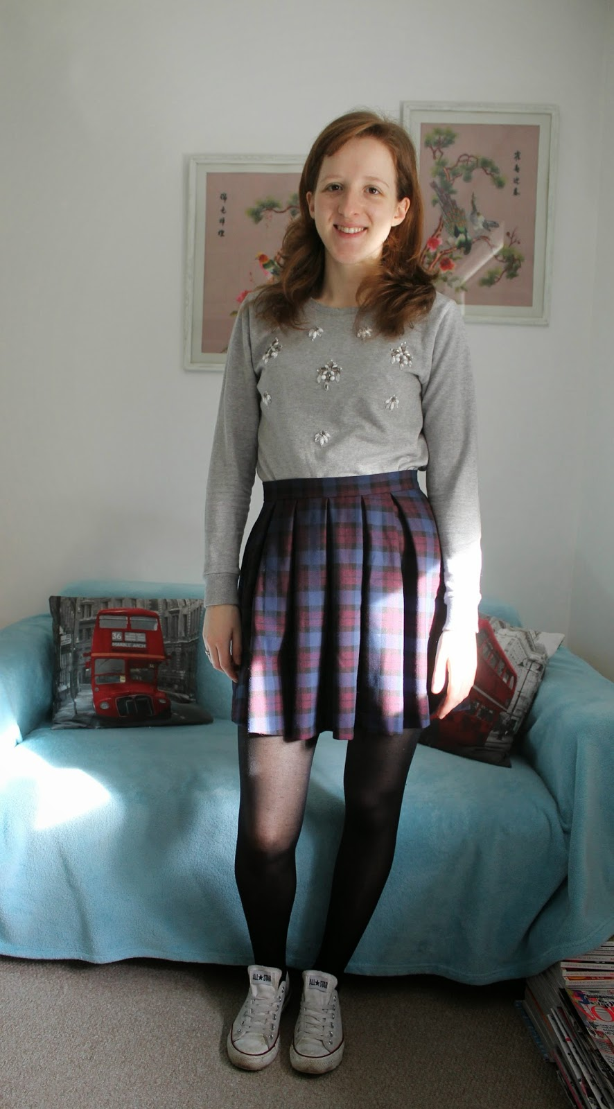 OOTD Tartan Skirt and Statement Jumper