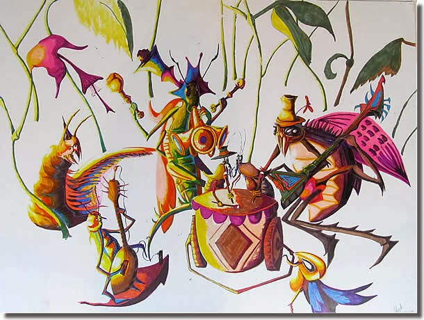 a painting I call Bug Party; © Josh Pittser