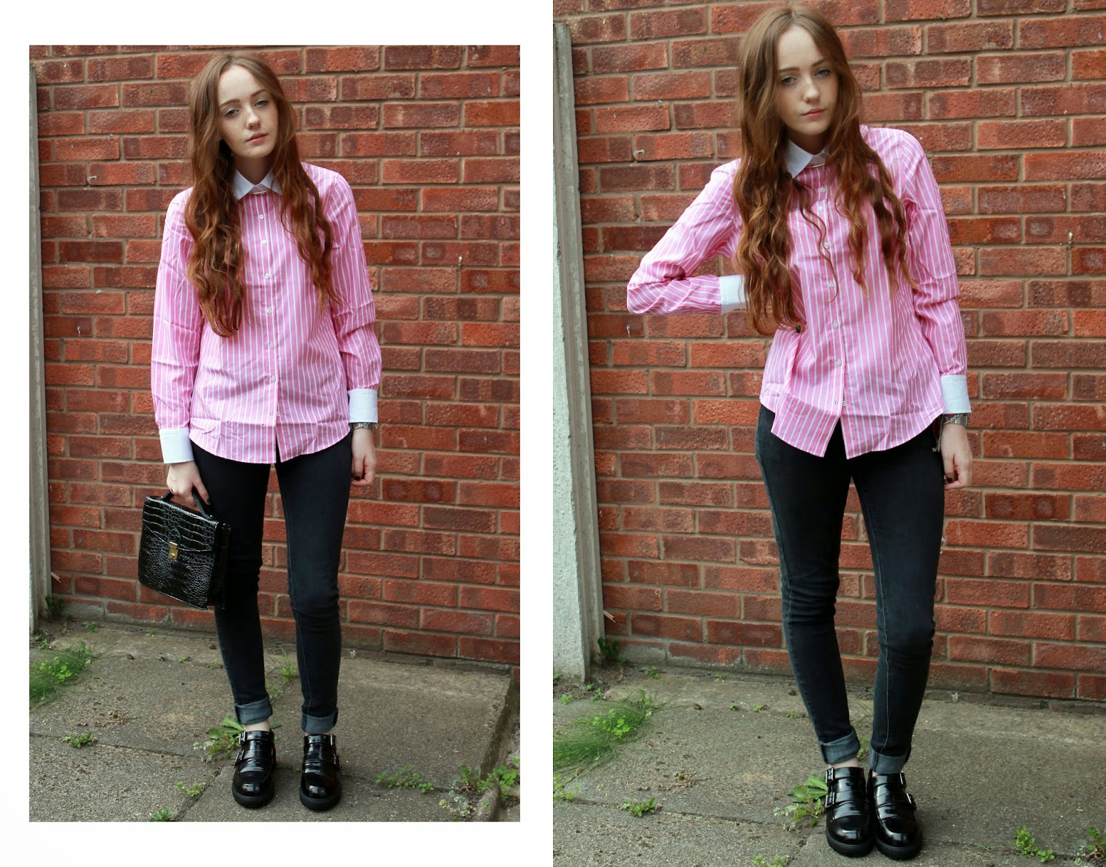 hawes and curtis pink pinstripe shirt with primark black jeans, monk shoes and satchel