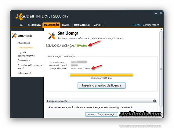 codigo de ativaçao do avast internet security