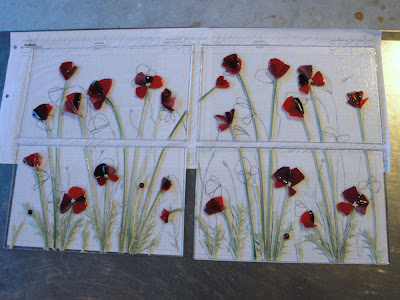 Red Poppy Glass Petals and Green Glass Stems for Fused Glass Antique Window Frame