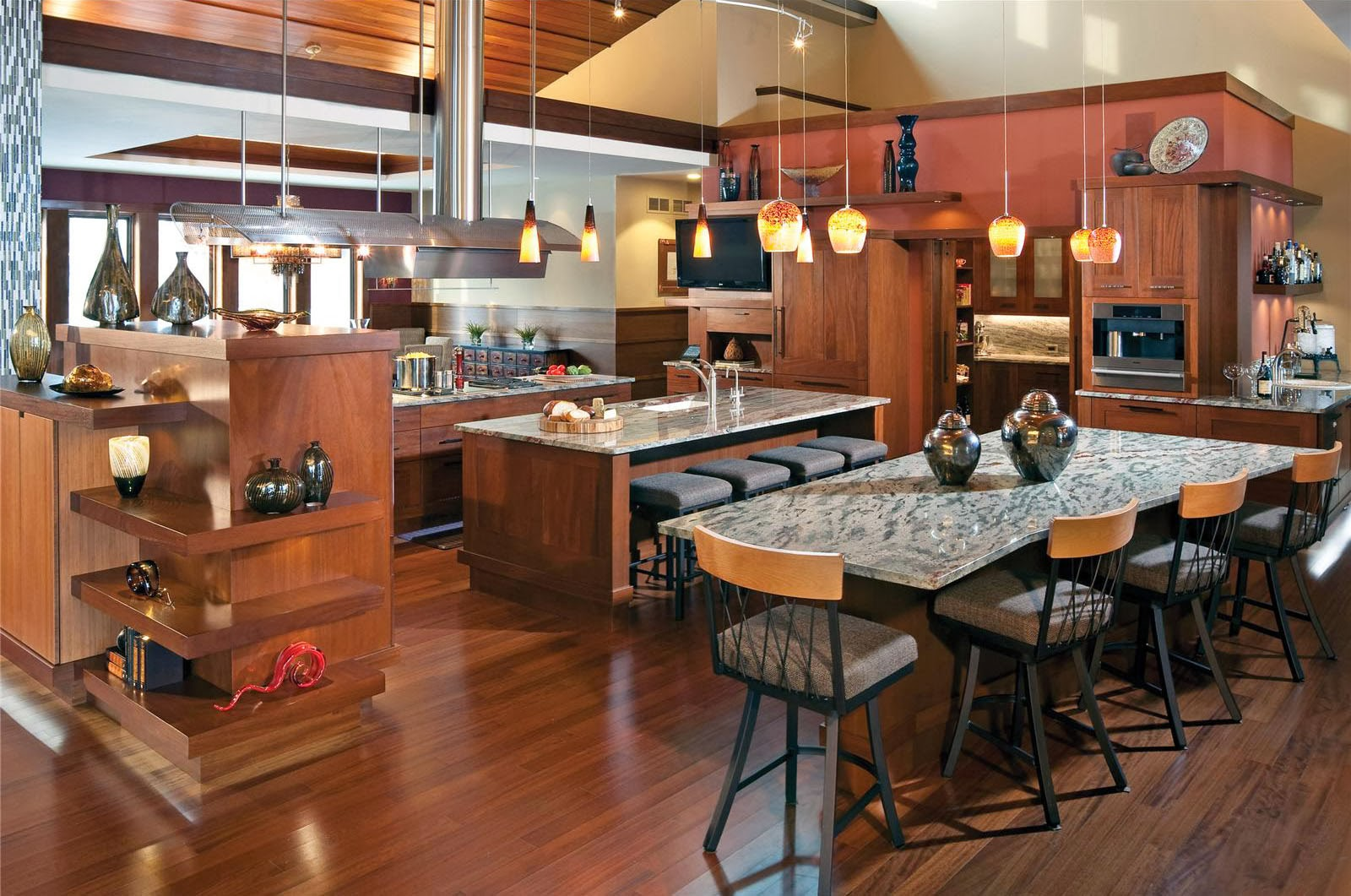 American Kitchen And Living Room Design - American open kitchens
