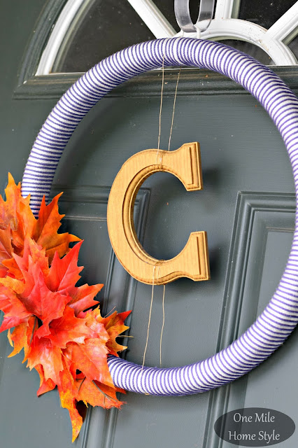 Fall Monogram Wreath Gold and Navy- One Mile Home Style Fall Home Tour