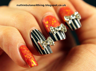 stripey nail art lush lacquer sizzling hot