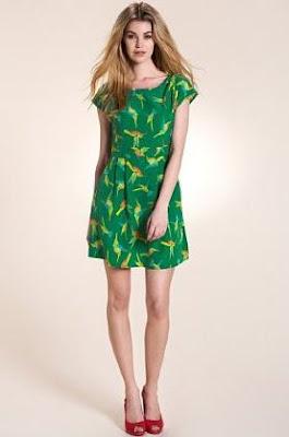 green hummingbird print dress