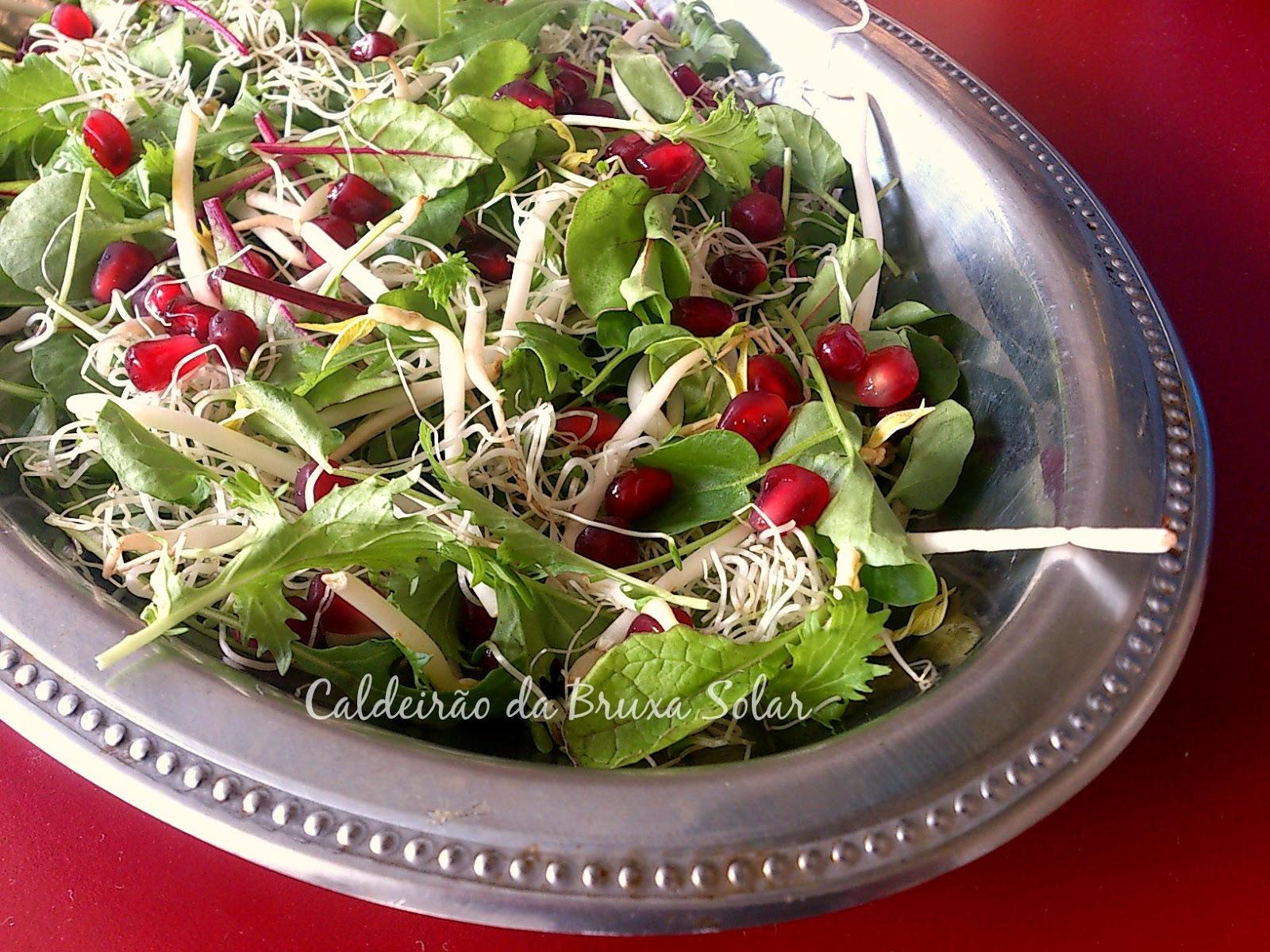 Solar Salada de mini folhas, brotos e romã