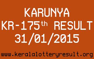 KARUNYA Lottery KR-175 Result 31-01-2015