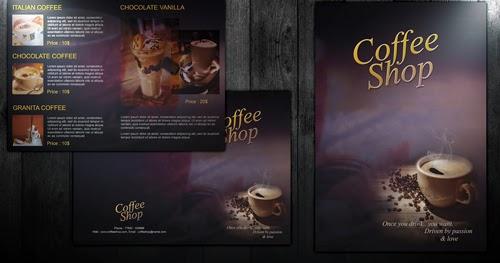 create easy bi fold coffee shop brochure in photoshop