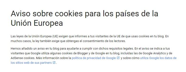 me obligan a avisarte de las cookies