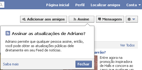 Assinaturas no facebook