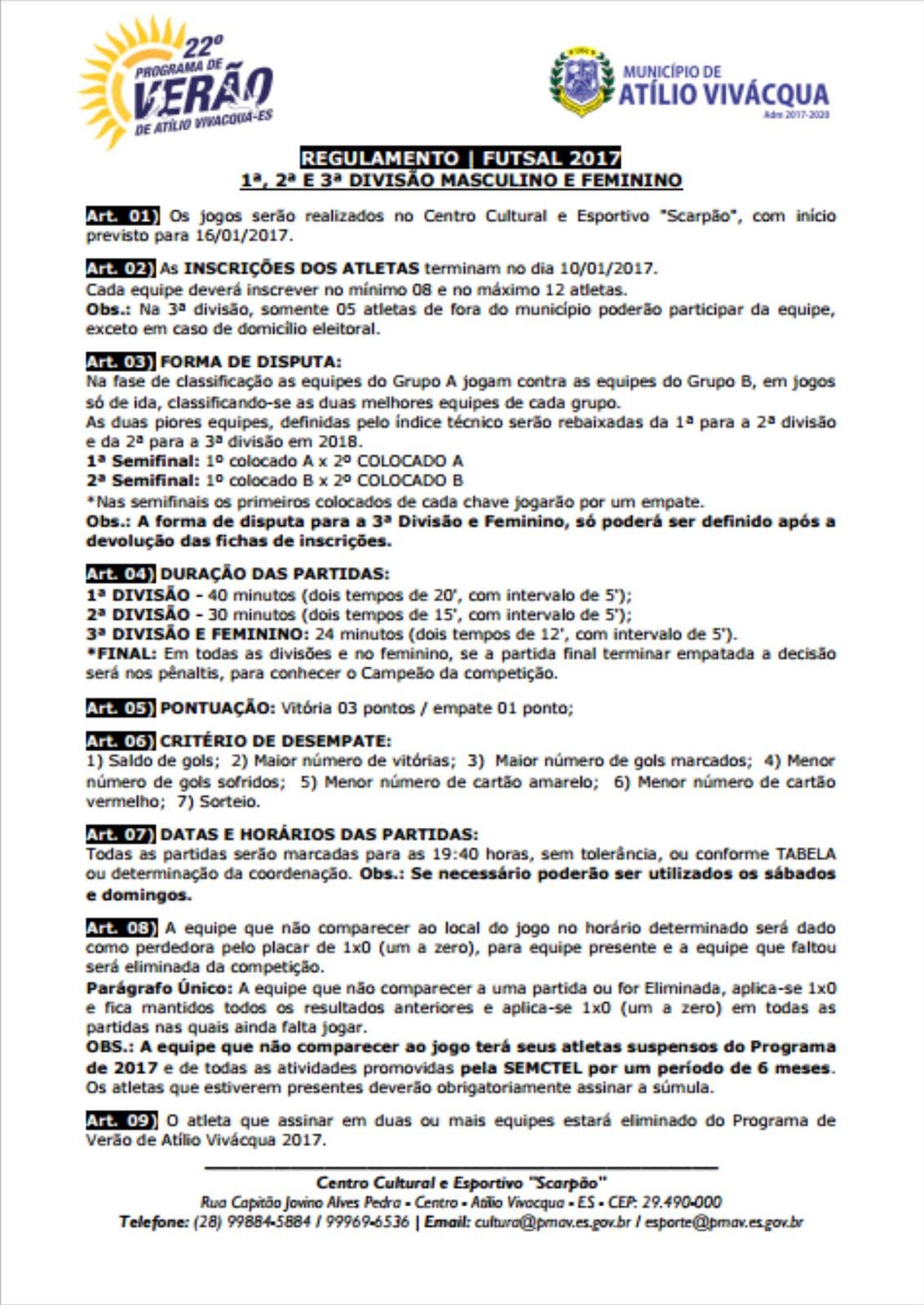 FUTSAL 2017 - Regulamento