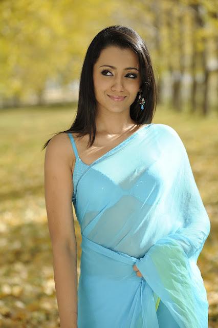 Trisha Hot In Blue Transparent Saree Photos
